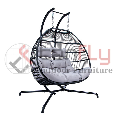 Outdoor Leisure Furniture Folding Double Swing Chair Hanging Egg Chair