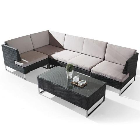 गर्म बेच एल आकार रतन सोफा 4 सीटर सेट आउटडोर बैठने के फर्नीचर