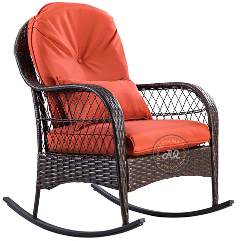 Kerusi goyang luaran teras teras perabot teras Rocker dengan kerusi anyaman rotan