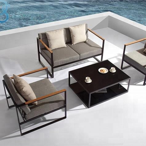 आधुनिक एल्यूमीनियम फ्रेम आउटडोर फर्नीचर सोफा आँगन कुशन के साथ सोफा सेट