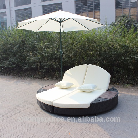 Classic durable round double wicker daybed with umbrella garden rattan daybed with cushion KS-WDB024