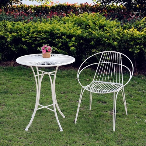 Stylish Wedding Wrought Iron Garden Patio Set Small Kd Table 2 Chairs Outdoor Furniture From China On Topchinasupplier Com