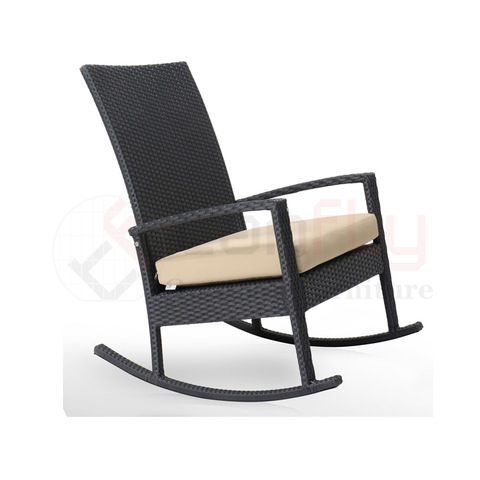 all-weather KD design leisure furniture rattan woven rocking chair modern