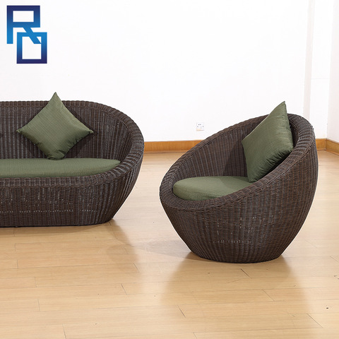 3 Pieces Outdoor Rattan Sofa Garden Furniture Set