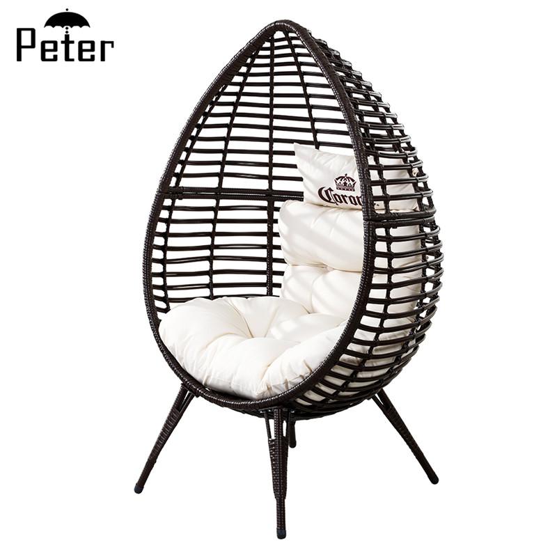 כיסאות ביצה בצורת ביצה ריהוט כיסא ביצה עומד כיסא נצרים קש כיסא צורת ביצה עם כריות