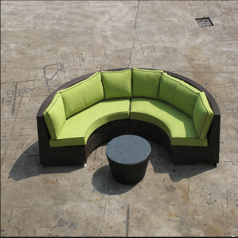 Foshan Rattan Sofa Outdoor Semi Circle Furniture Cane Garden Set pictures & photos