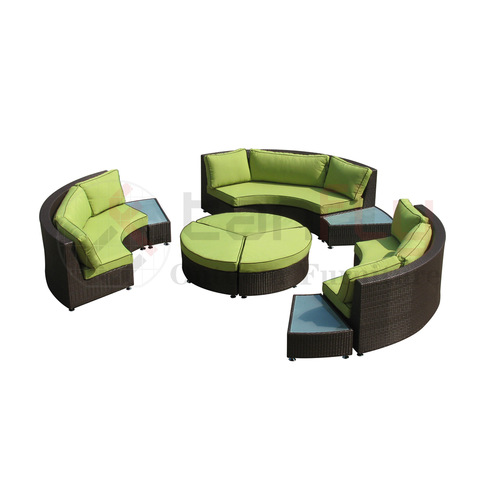 Foshan Rattan Sofa Ita gbangba Semi Circle Furniture Cane Garden Set