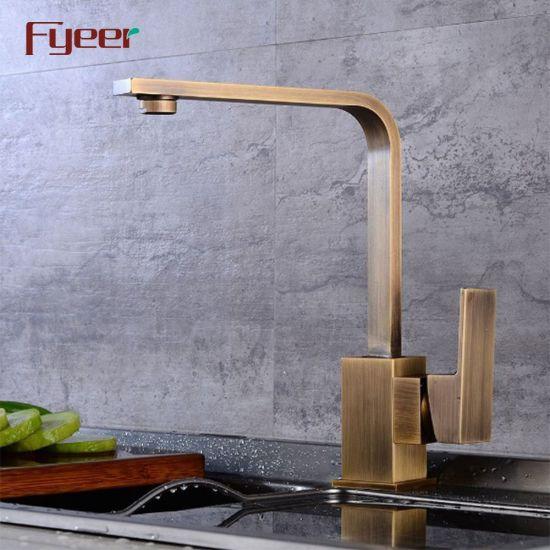 China Fyeer Antique Brass Kitchen Sink Water Tap Kitchen Mixer