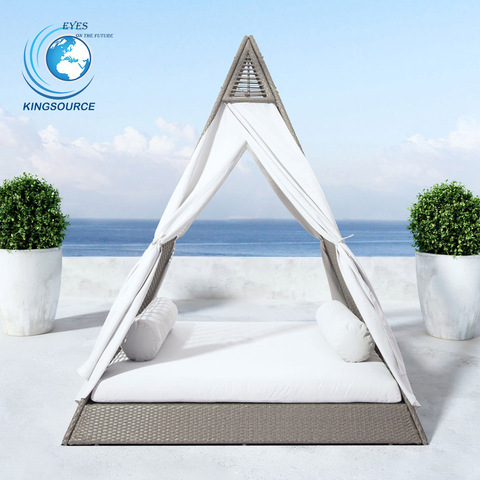 Luxury wicker patio beach chaise rattan daybed outdoor lounge furniture