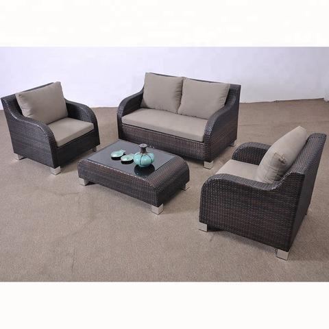 Kunja kwa Rattan Garden mipando Wicker Sofa Set
