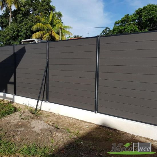 China Dark Grey Privacy Fence Wood Composite Wpc Decorative Garden