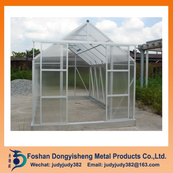 China High Light Transmission Aluminium Mini Garden Polycarbonate Greenhouse