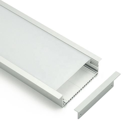 China 72mm Width LED Profile Slim Decorative Recessed Aluminium LED Channel with Clip-in Diffuser +