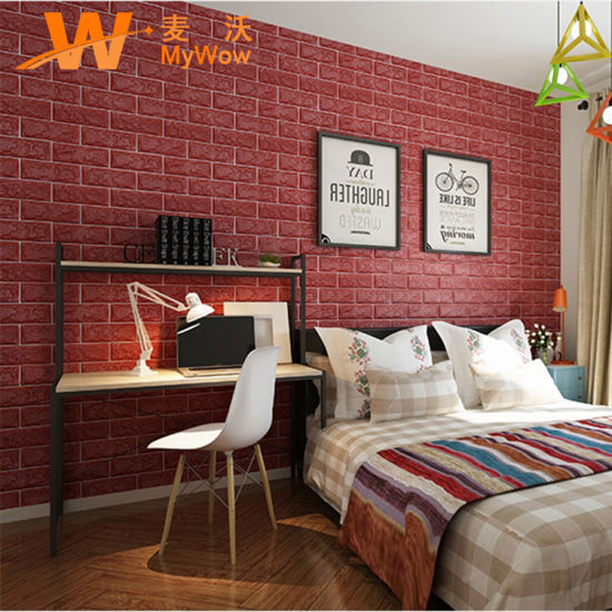 Self Adhesive 3D Brick Stone Wallpaper Wall Sticker for Home Decoration