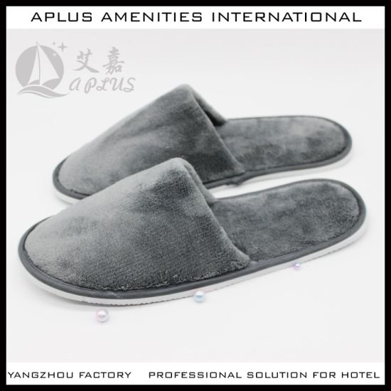 China Gray Color Velvet Hotel Slipper