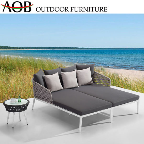 China Garden Outdoor Patio Furniture Lounge Webbing Weaving Rope New Design Double Daybed Sunbed