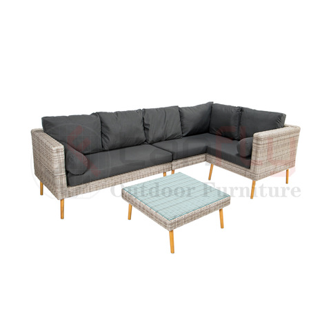 100% Handgewéckte L-Sheap All-Weather Rattan Outdoor Kombinatiouns Sofa