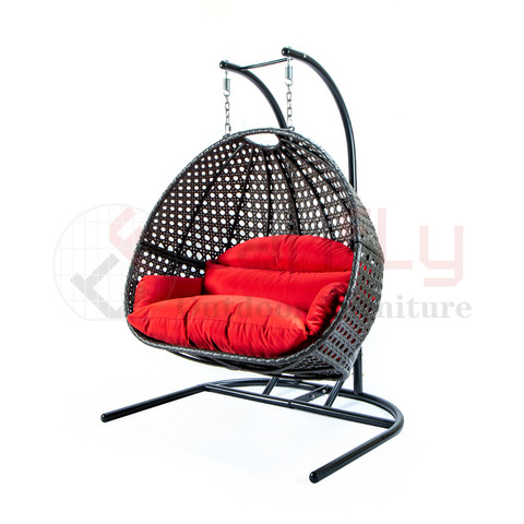 Kabeh Weather Setengah Cut Wicker Hanging Kursi Rotan Baby Swing Kursi njaba