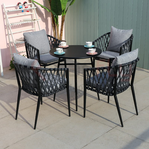 All weather cafe aluminum dining set restaurant outdoor rope chair