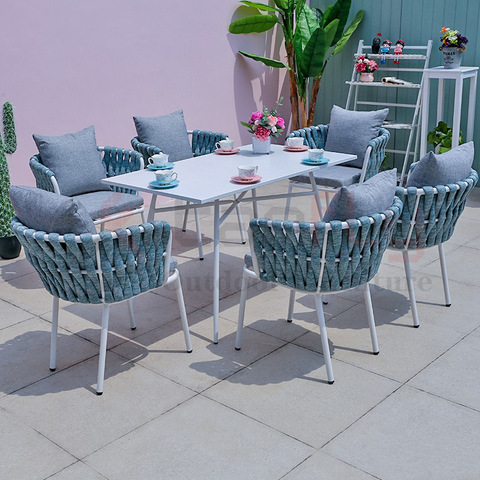 Aluminum outdoor dining furniture navy blue rope garden dining chair