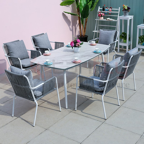Balcony patio outdoor furniture waterproof woven rope chair and aluminum dining table
