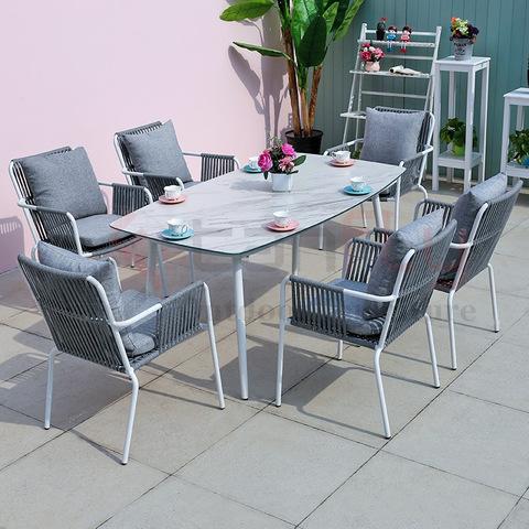 Balkon terras tuinmeubilair waterdichte geweven touw stoel en aluminium eettafel