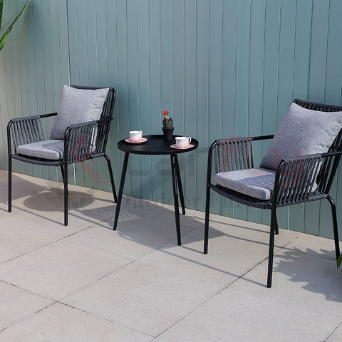 Black outdoor rope weaving furniture rope chair garden coffee furniture set