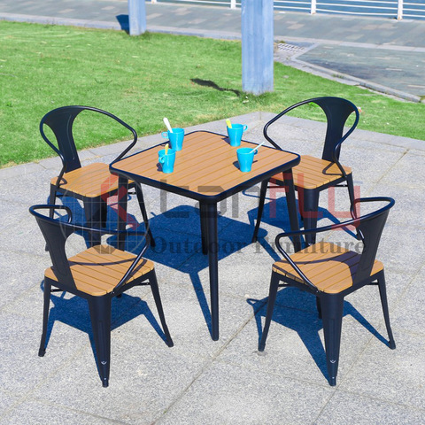 Contemporary Plastic Wood Outdoor Furniture 4 Seaters Coffee Furniture Set