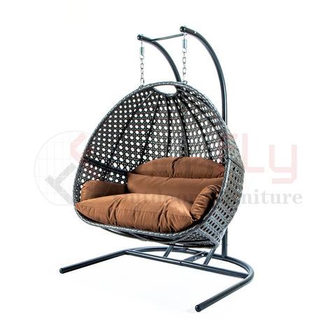 Ġnien Konvenjenti Siġġu Imdendel Siġġu Fforma Bajd tal-PE Rattan Swing Chair Stampi ta 'barra u ritratti