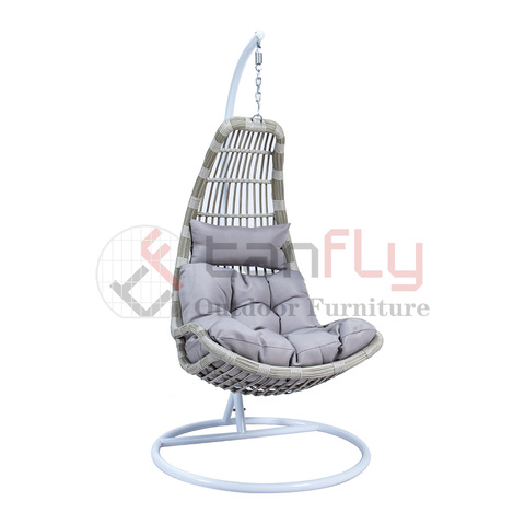 Grey rattan garden basket chair compact single swing chair with stand pictures & photos