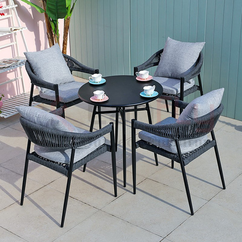 Hotel outdoor garden furniture comfortable dining room rope set