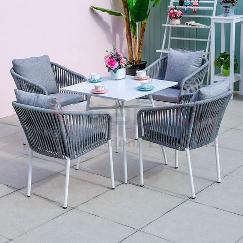 लक्जरी पॉली रस्सी गार्डन फर्नीचर सेट आउटडोर बुनाई रस्सी खाने की कुर्सी