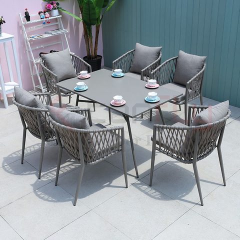 Modern design hand-woven rope effect garden furniture outdoor