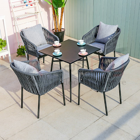 Modern design hotel conversation grey rope garden furniture outdoor