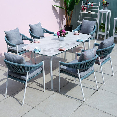 Modern garden patio design rope furniture set hotel aluminum rope garden chair pictures & photos
