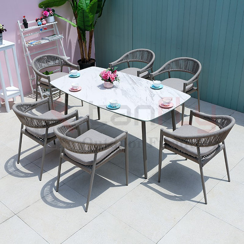 Modern garden patio design rope furniture set hotel aluminum rope garden chair