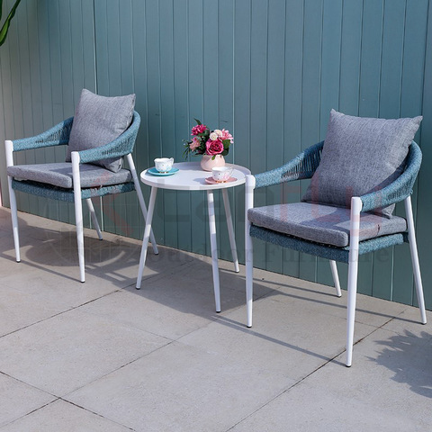 Modern popular home patio rope coffee set outdoor conversation furniture