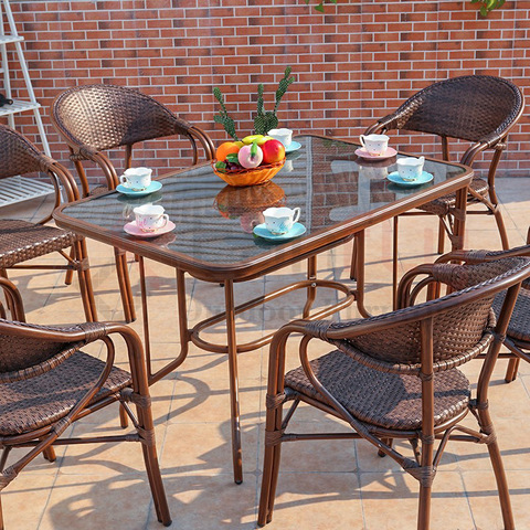 Modern rattan outdoor furniture customized dining table and chairs pictures & photos