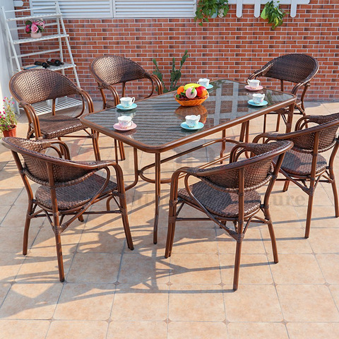 Modern rattan outdoor furniture customized dining table and chairs