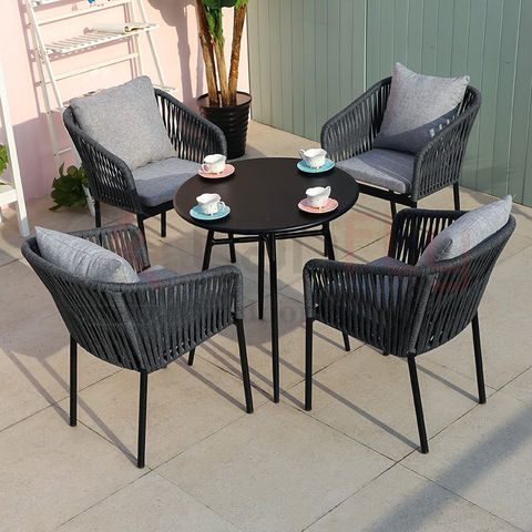 Modern rope cafe furniture set garden salon party chairs