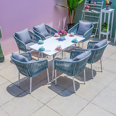 Reka bentuk baru kegunaan luaran perabot taman yang ditenun dengan kerusi makan dengan gambar meja & gambar