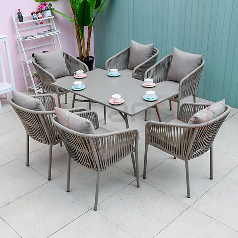 New design outdoor use garden furniture rope woven dining chair with table