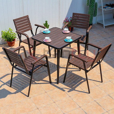 Nordic Modern Plastic Wood Garden Furniture 4 Seaters Coffee Table Set