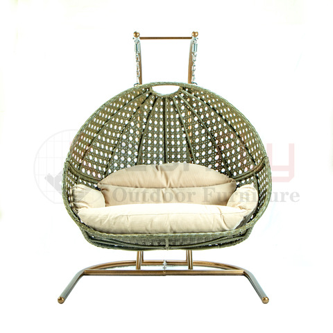 Online Hot Sale Mail Packaging Half-cut Egg Rattan Double Swing Chair pictures & photos