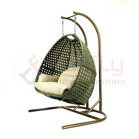 Online Hot Sale Postverpakking Half gesneden Egg Rattan Double Swing Chair
