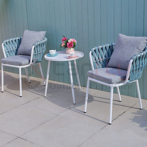 Patio conversation bistro chair sets balcony aluminium woven strap table