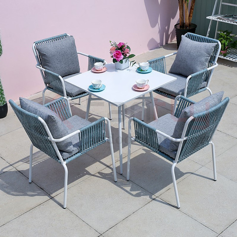 Royal Hotel rope dining set patio furniture balcony dining table and chair
