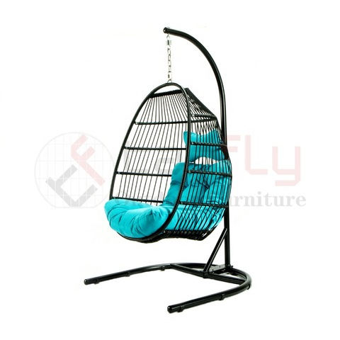 U-shaped base PE rattan foldable single hanging chair outdoor hammock