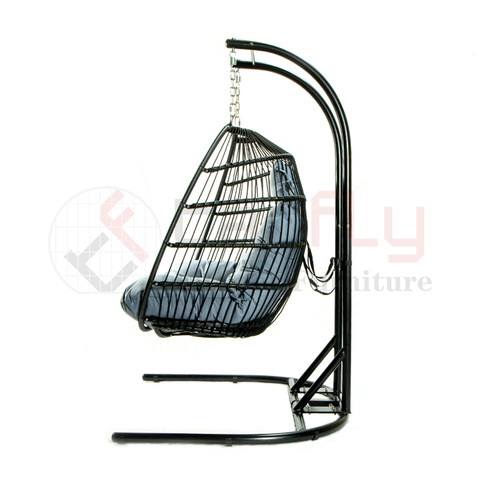 U-shaped base rope woven PE rattan double swing chair foldable hammock pictures & photos