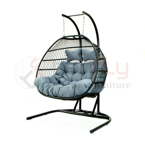 U-shaped base rope woven PE rattan double swing chair foldable hammock